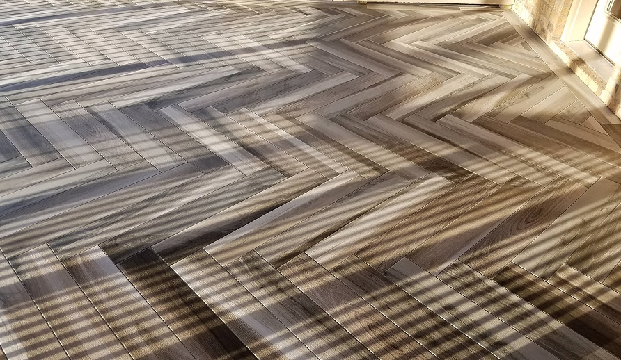 special zigzag wooden flooring on a deck