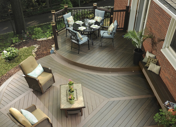 overhead view of TimberTech AZEK sustainable decking with a bench and chairs