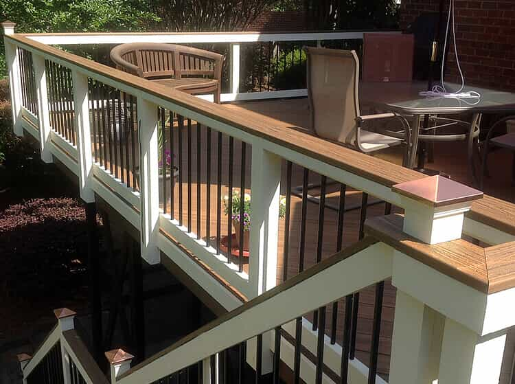 TimberTech deck  with white and wood railing