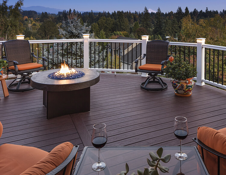 Deck with firepit and outdoor furnishings