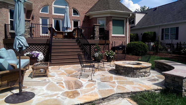 Charlotte Deck and Patio with Seat Wall and Fire Pit