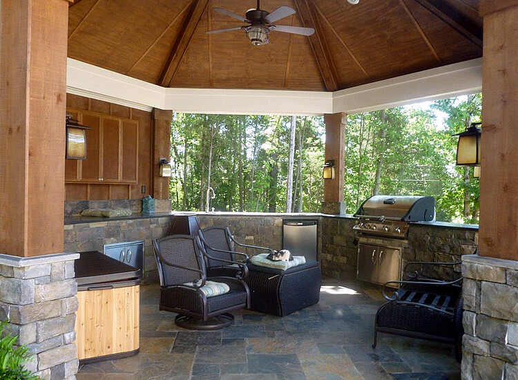 Charlotte Gazebo with Complete Outdoor Kitchen