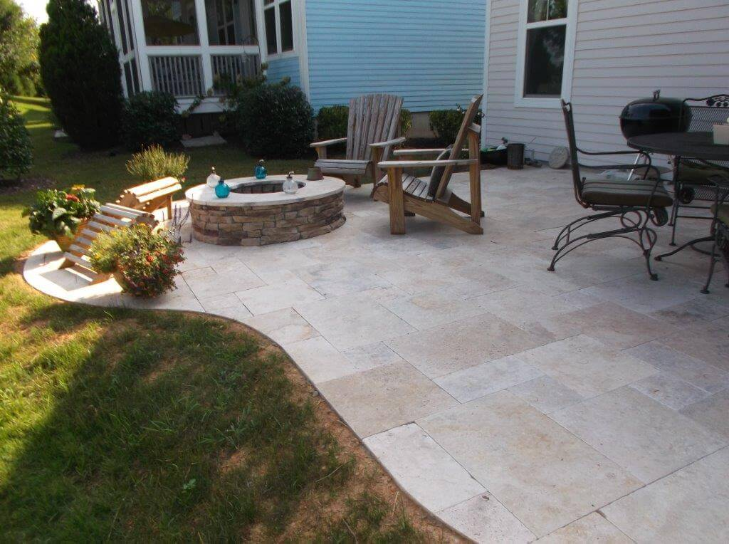 Charlotte Travertine Patio Built in Fire