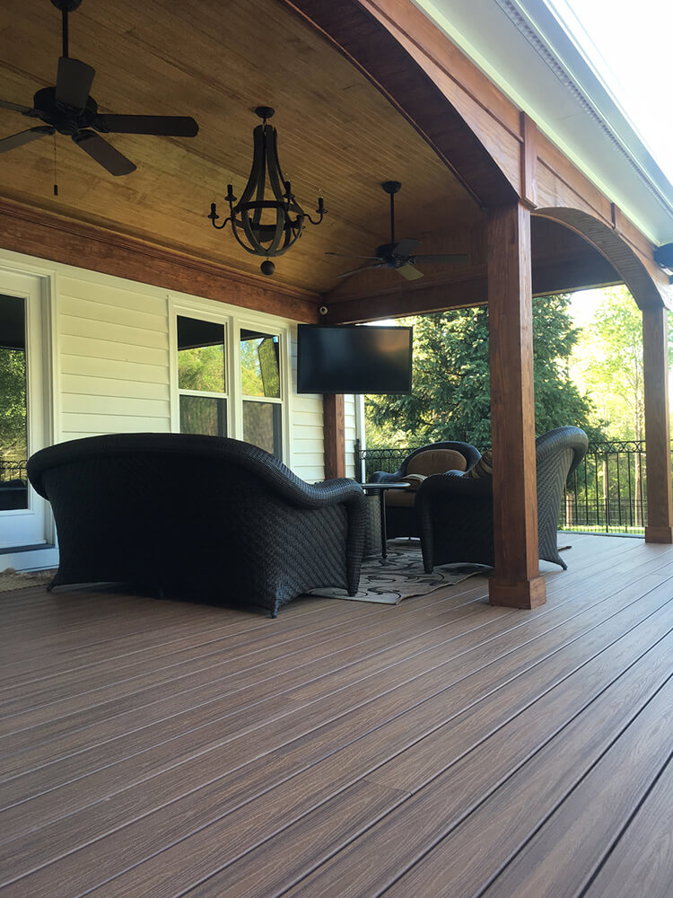 Seating area on open porch