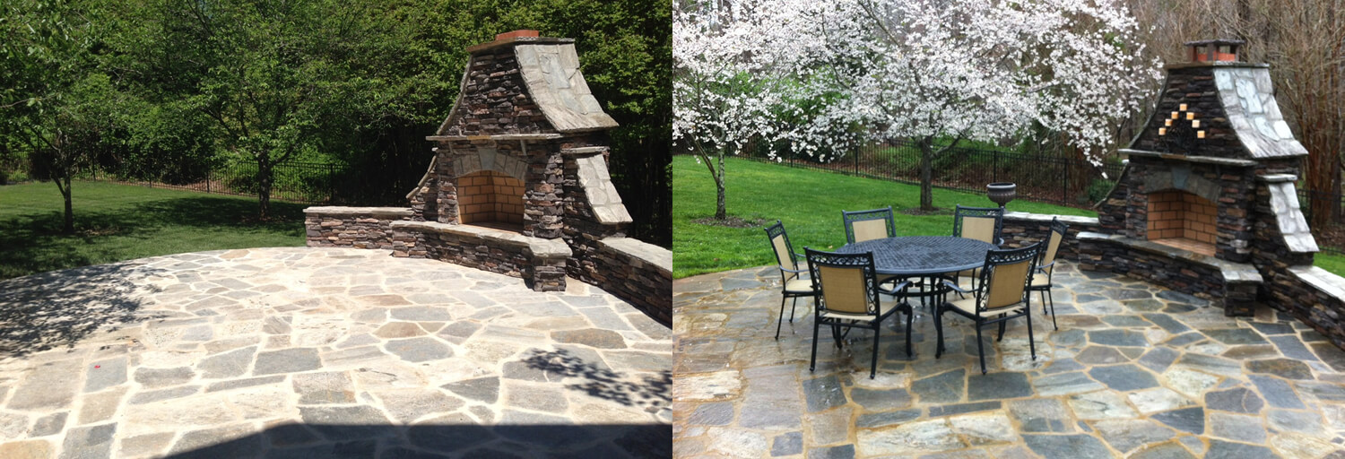 flagstone patio color variation, side by side images