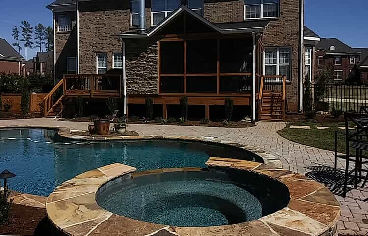 poolside patio, deck & screened porch