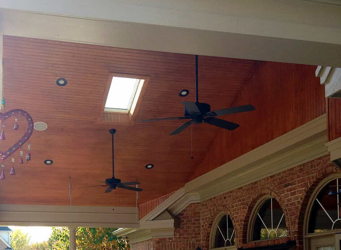 porch ceiling with skylights