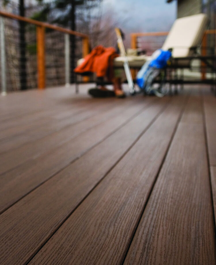 close up view of sustainable decking TimberTech AZEK