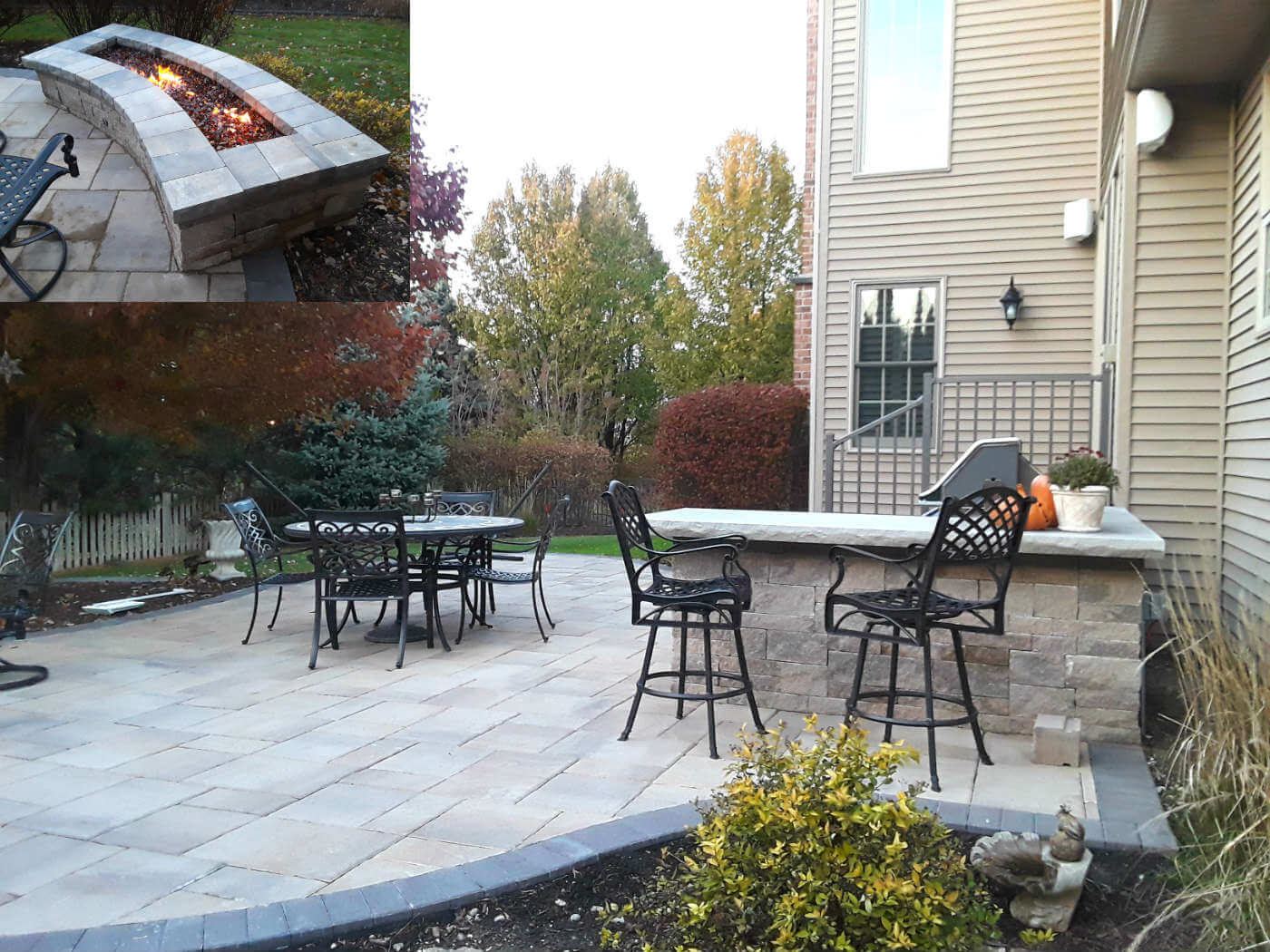 custom Belgard patio design with fire pit