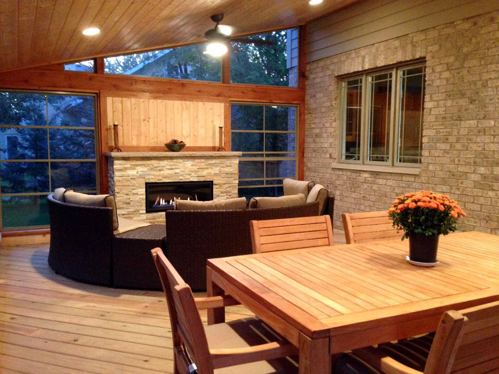 Custom screened porch with fireplace