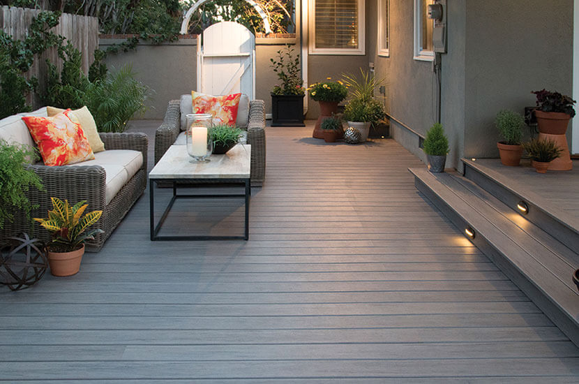 Custom deck with wooden patio