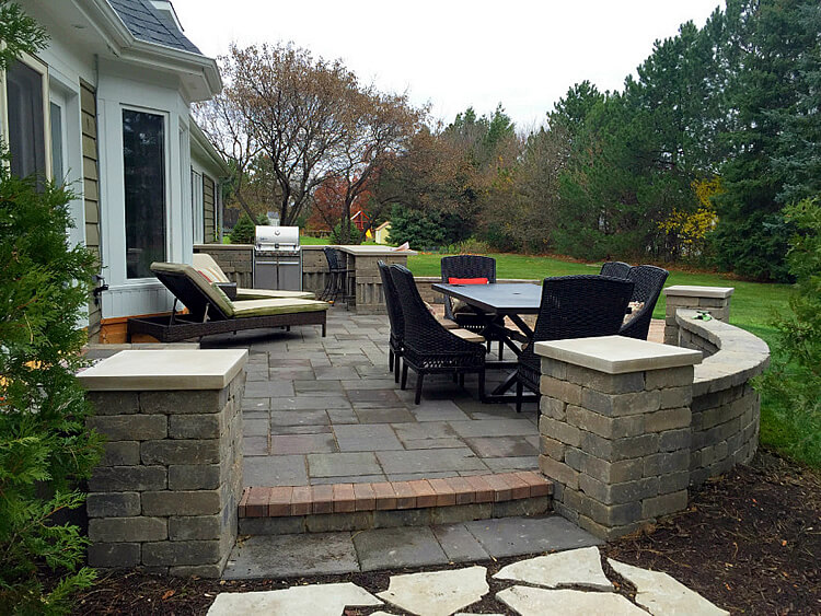 Custom Patio Design with Outdoor Kitchen & Fire Pit