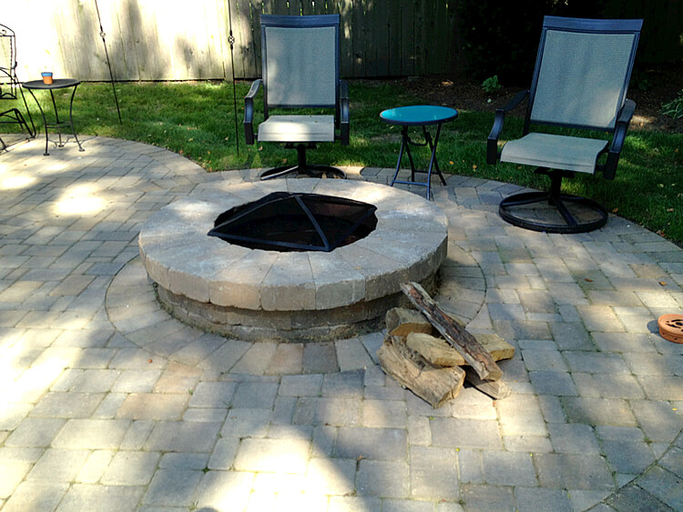 Custom patio with new fire pit