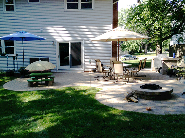 Custom Expanded Paver Patio with Fire Pit and Grill Surround