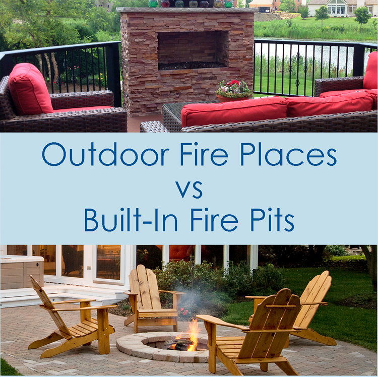 Custom outdoor fireplace vs built in fire pit