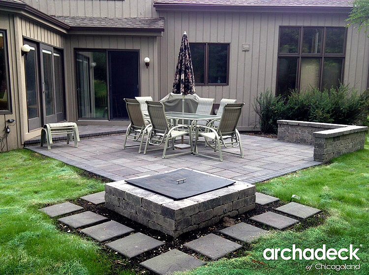 Custom patio with table, chair and close umbrella