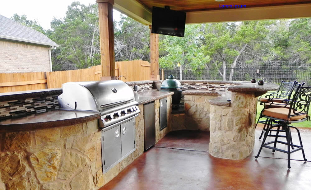 Custom outdoor kitchen with bar counter