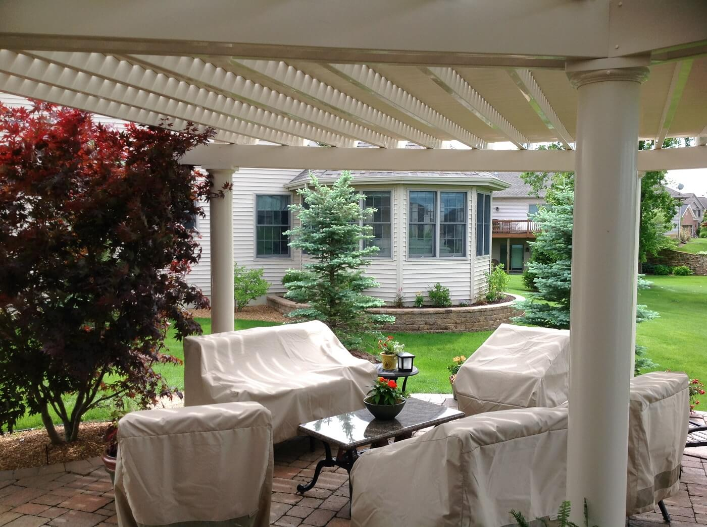 Covered porch with covered furnitures