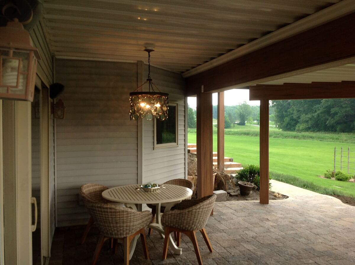 Seating area on covered patio