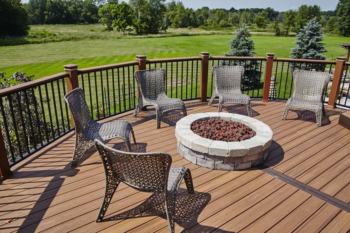 Deck with stone fire pit