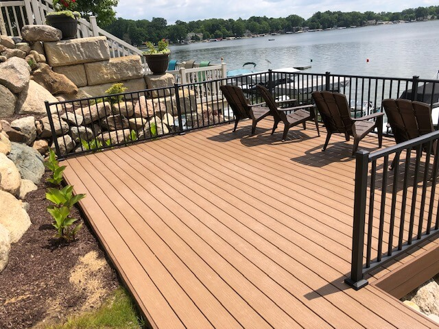 Custom lakeside deck with railing