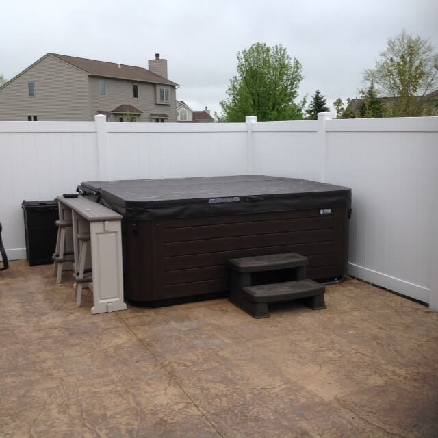 Custom hot tub on patio