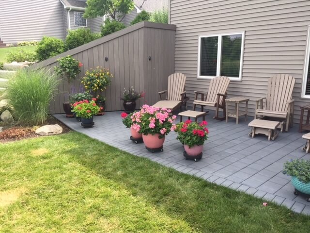 backyard patio with rest area and plants