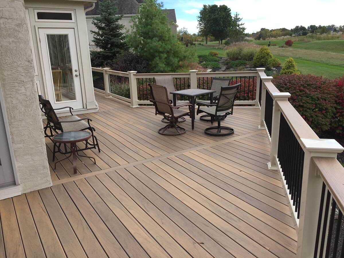 Custom backyard deck with seating area