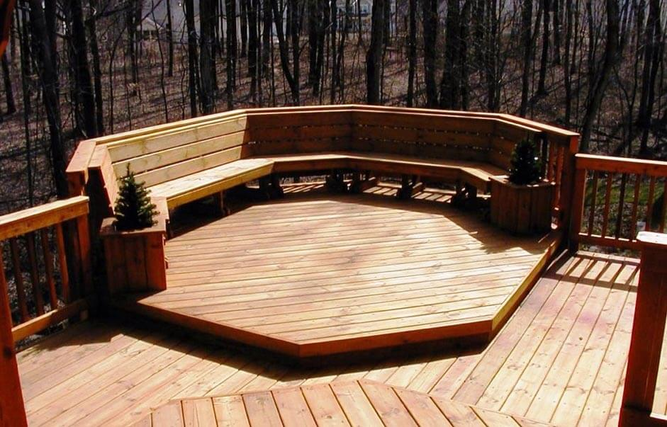 Custom multi-level deck with floating bench