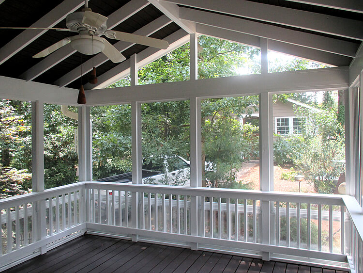 Custom screened porch with ceiling fan