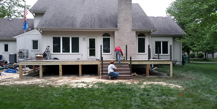 Deck and screened porch construction.