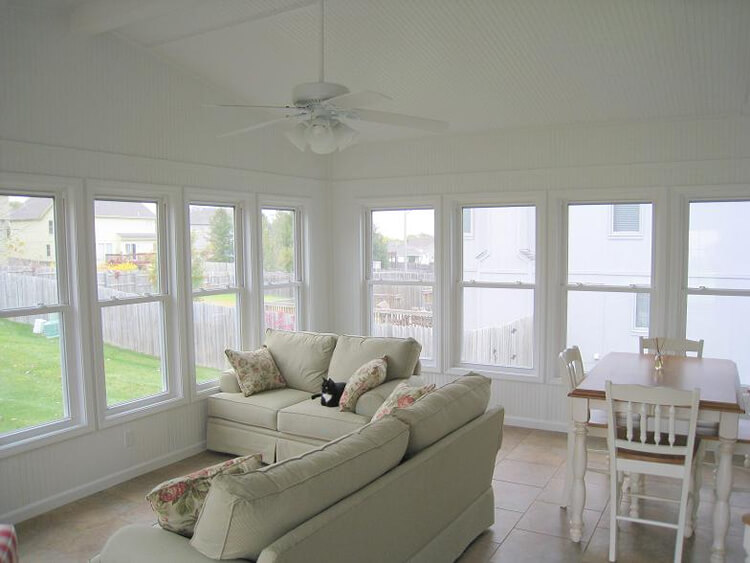 4 season sunroom with gable roof
