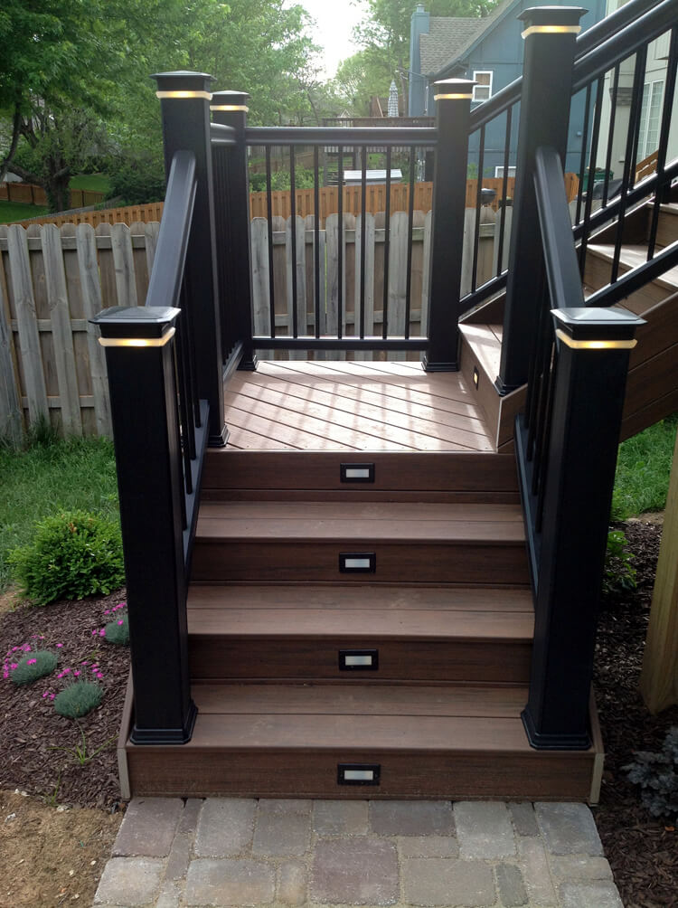 Deck staircase with custom lighting