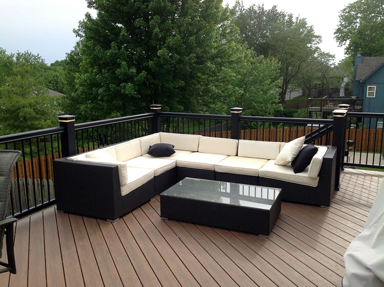 Minimalist couch on custom deck