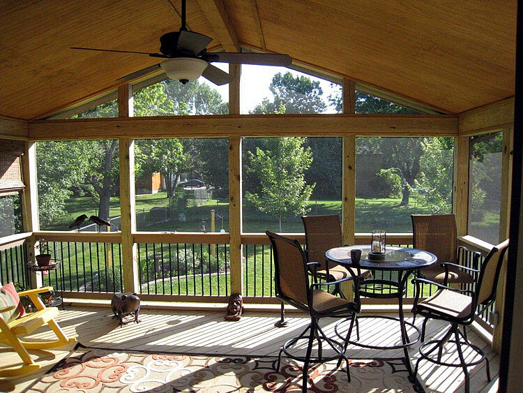 Gable roof screen porch