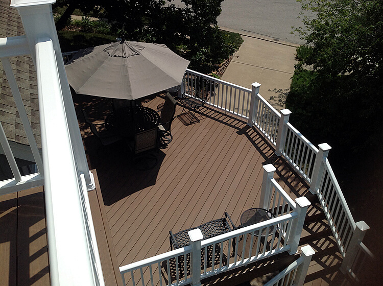 Custom deck with white railing
