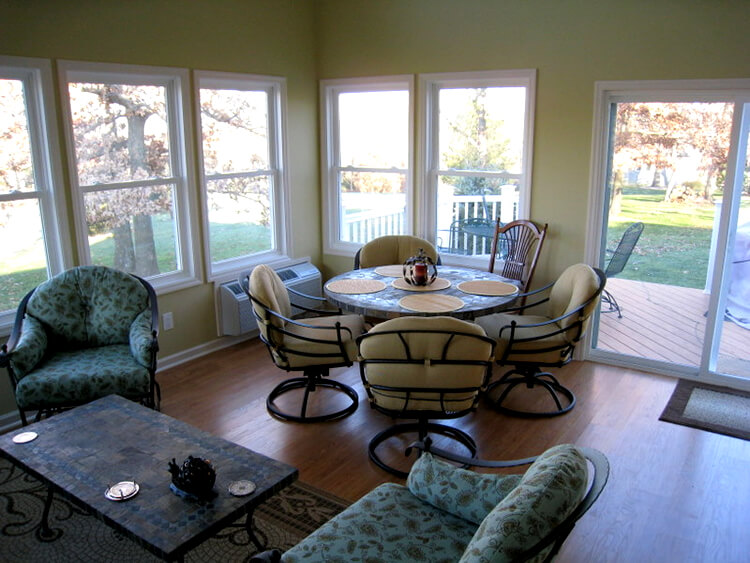 Dining area on custom sunroom