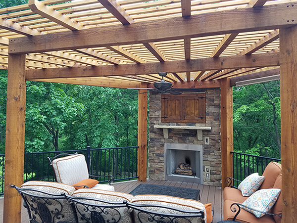 Deck with pergola and outdoor fireplace