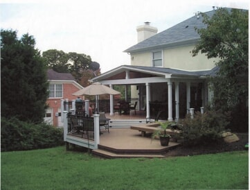 covered porch combination outdoor deck