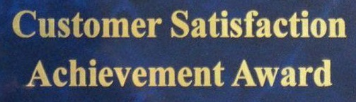 Blue Background, Text: Customer Satisfaction Achievement Award