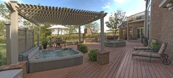 Timbertech deck with vinyl pergola over spa