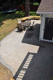 overhead view of patio with outdoor furniture