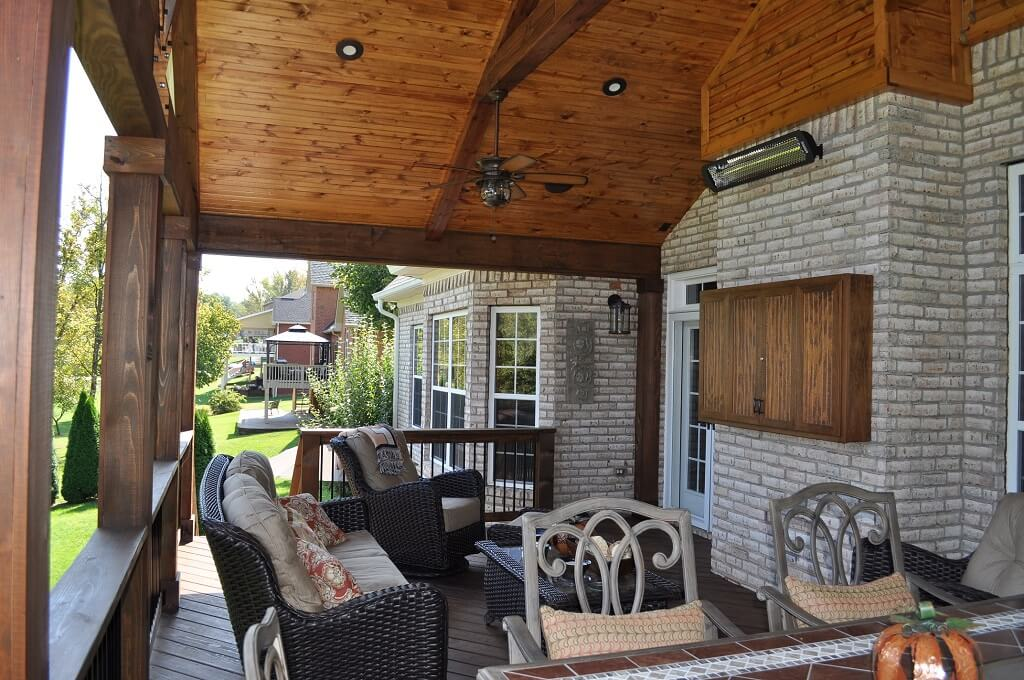 Custom porch with infrared heaters
