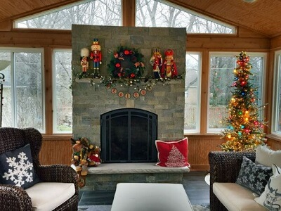 Screened porch with Christmas decors