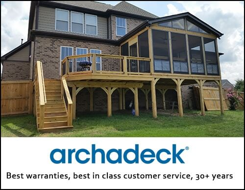 combination indoor and outdoor screened porch with archadeck logo beneath