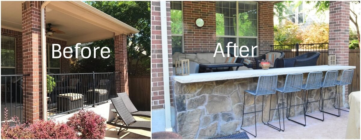Before And After Backyard Stone Bar