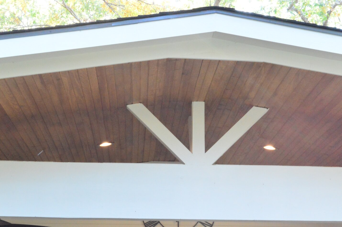 Custom Patio Cover With Tongue And Groove Ceiling With Recessed Lighting