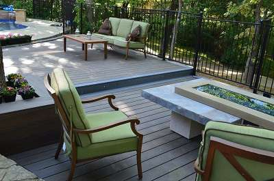 Outdoor poolside deck