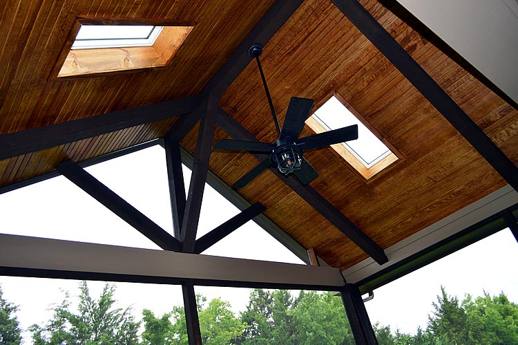 Pine tongue and groove covered patio ceiling