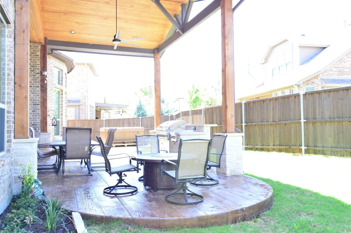 Stained and stamped patio with seating